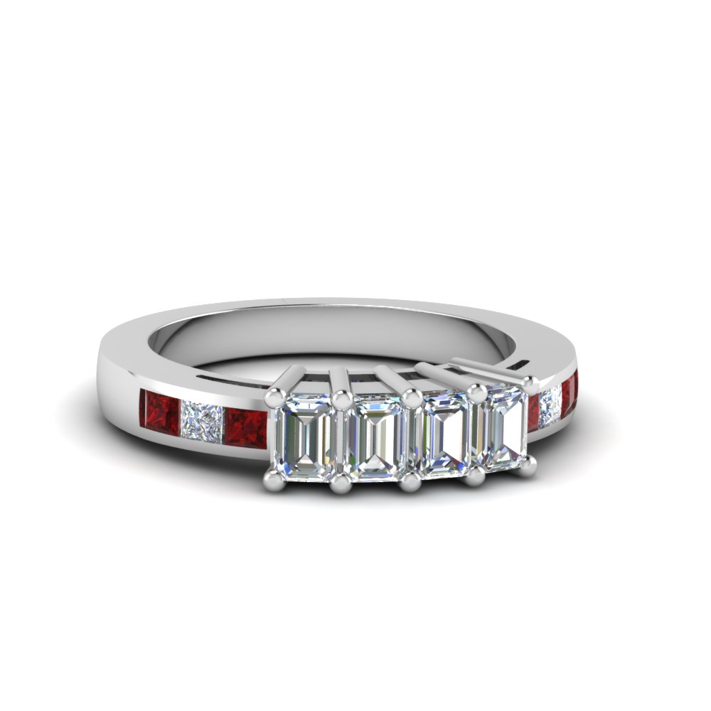236aa7d4e 4 Emerald Cut Diamond Accents Stone Band Womens Wedding Bands with Red Ruby  in 14K White Gold