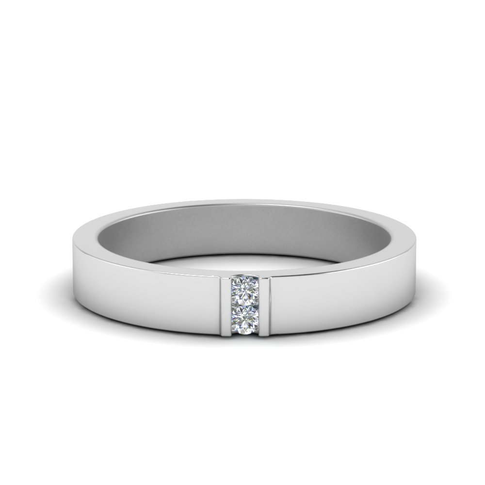 2 Stone Flat Wedding Band