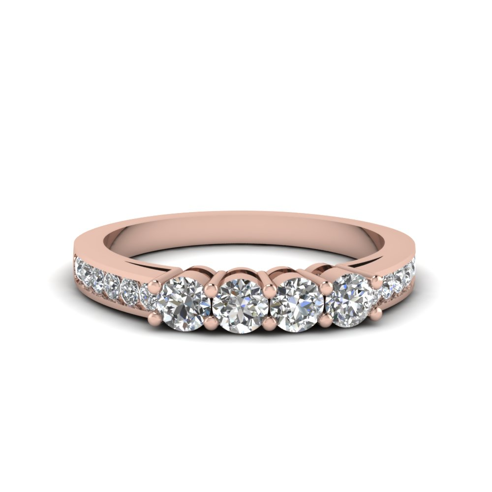 4 round diamond accent band for women in 14K rose gold FDENS460B NL RG