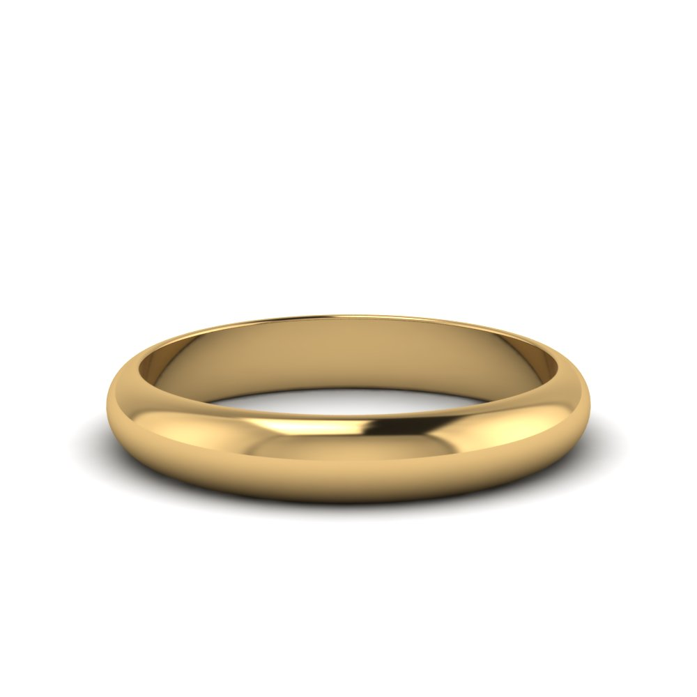 4MM glossy light weight comfort fit mens wedding band in 14K yellow gold FDM141783B 4MM NL YG