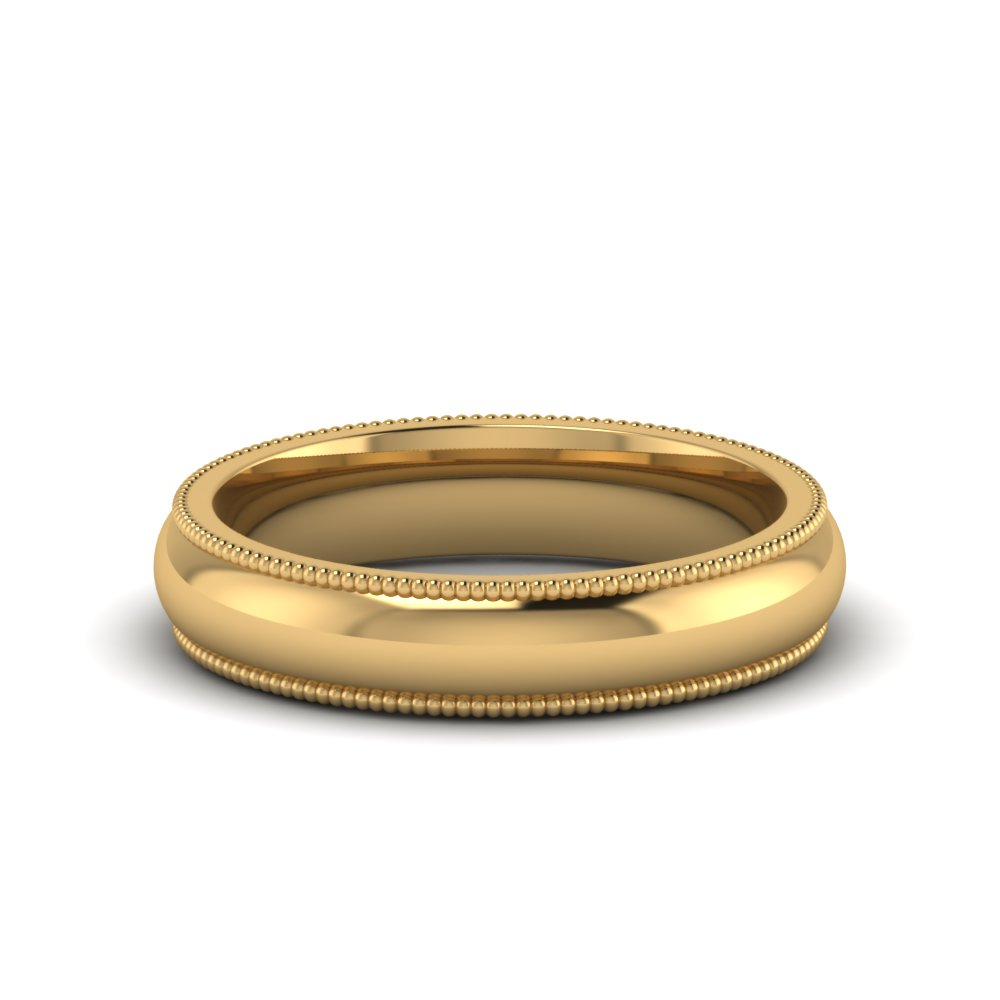Milgrain Mens Wedding Band