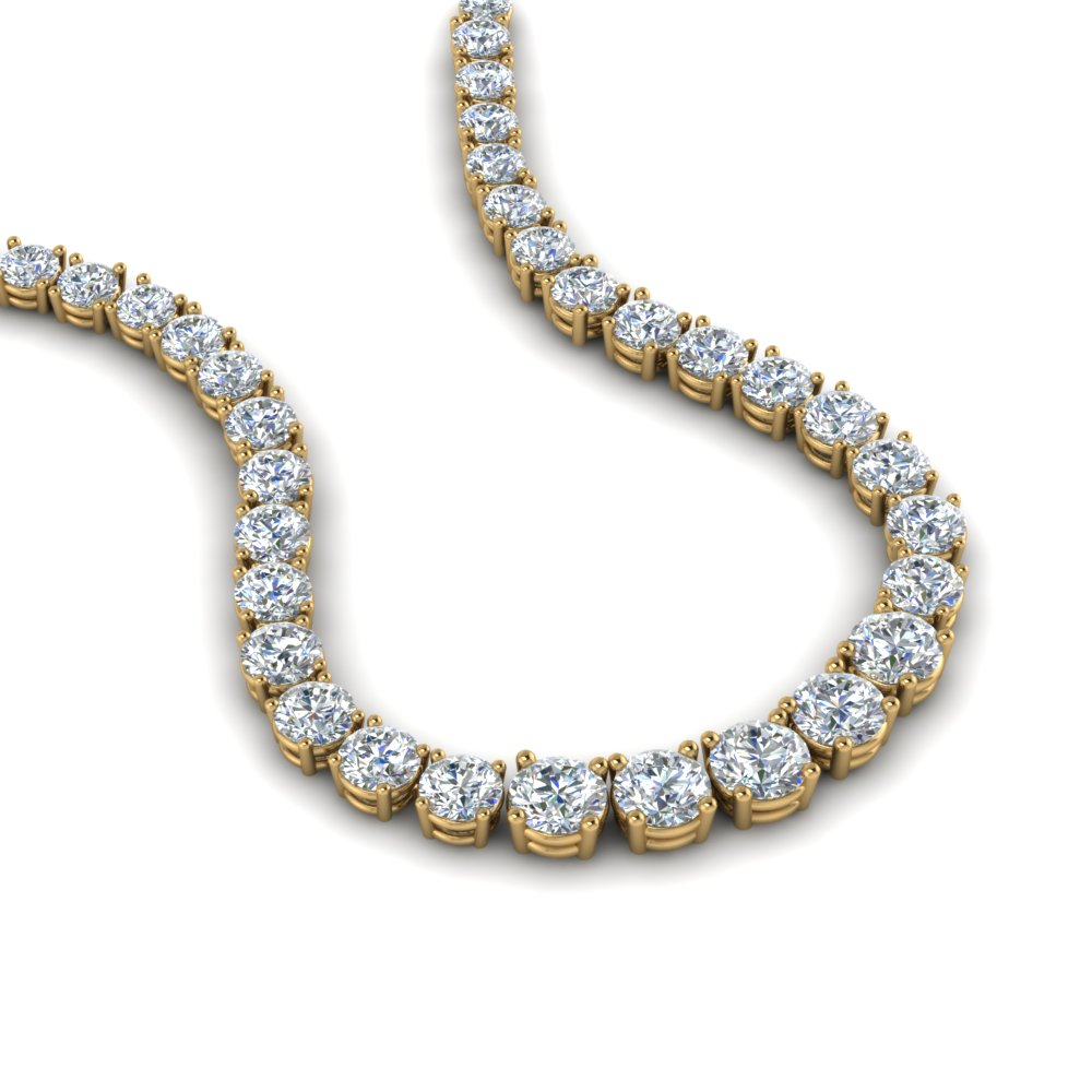 5 Ct. Round Diamond Graduated Eternity Necklace In 14K Yellow Gold ...
