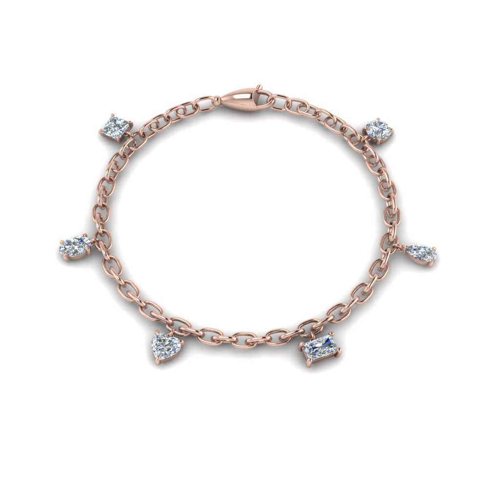 14K Rose Gold 6 Diamond Bracelet