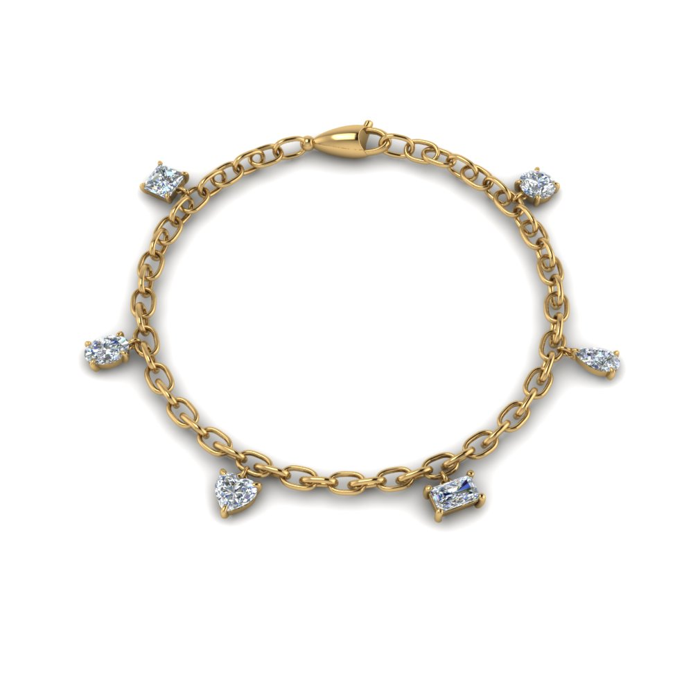 14K Yellow Gold Diamond Charm Bracelet