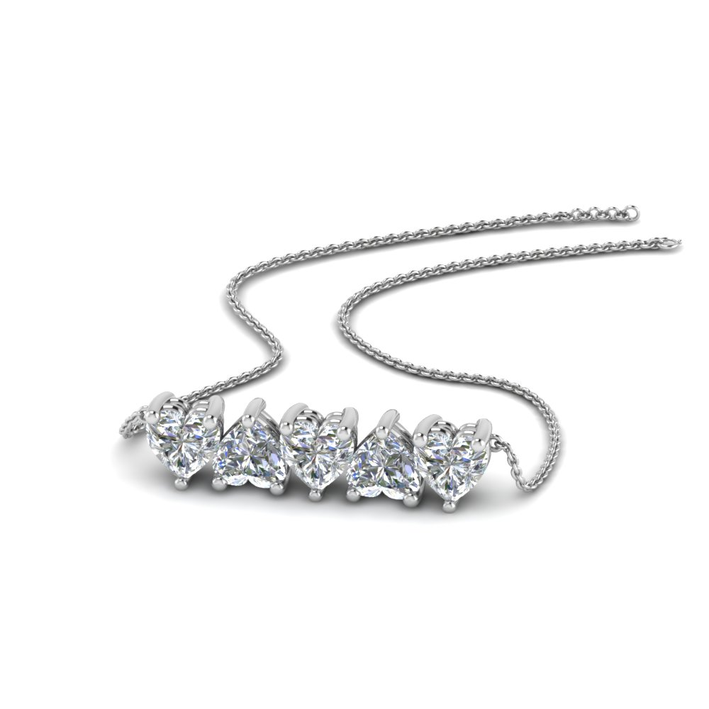 5 Heart Horizontal Diamond Necklace In 14K White Gold