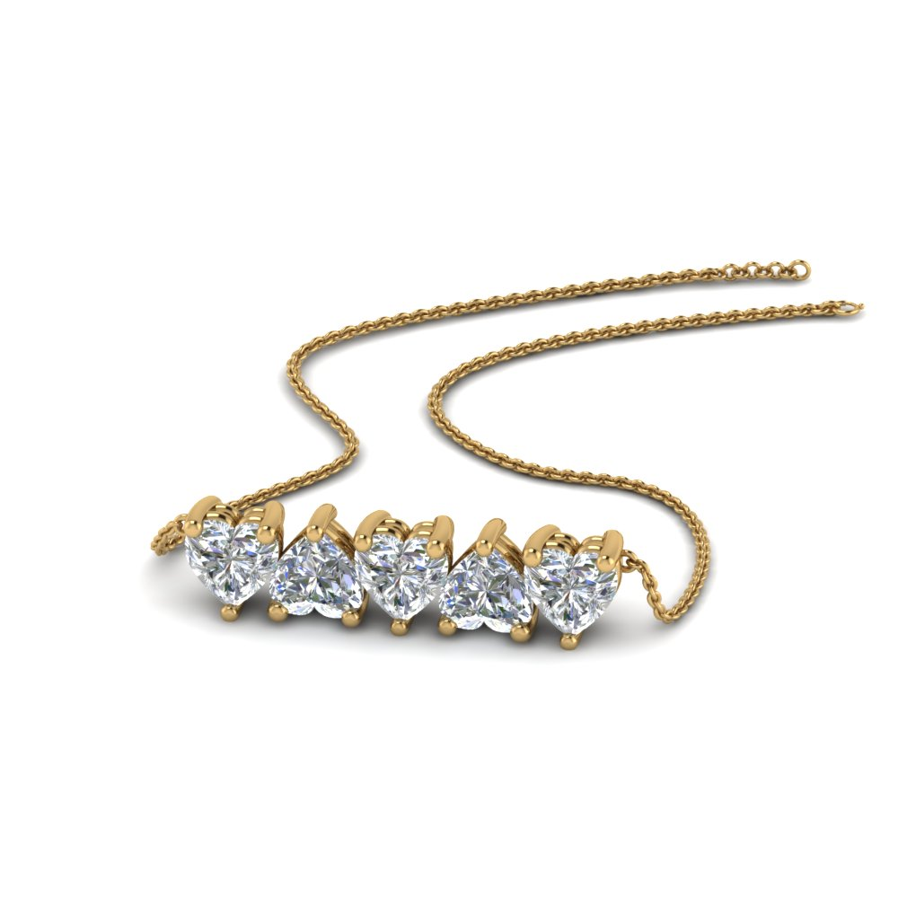 5 heart horizontal diamond necklace in 14K yellow gold FDNK8327 NL YG