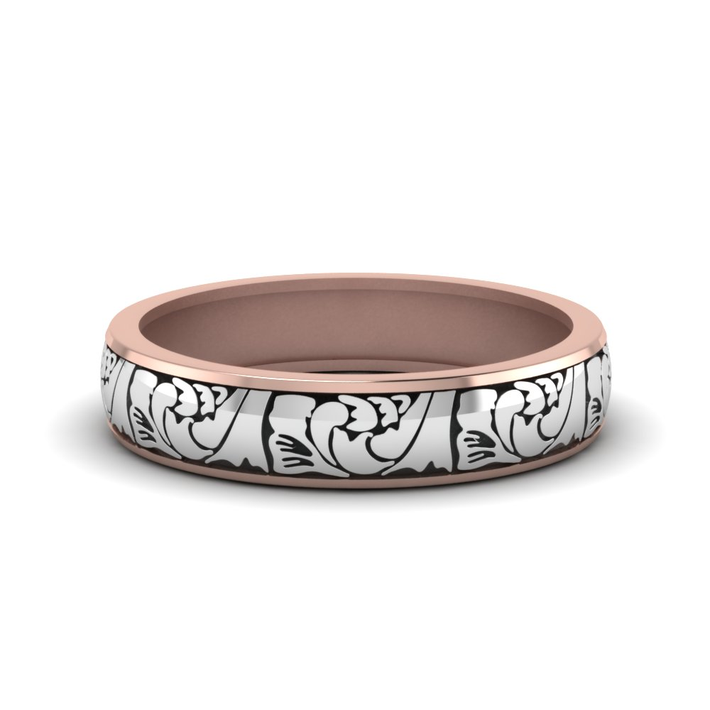 Engraved 2 Tone Womens Band