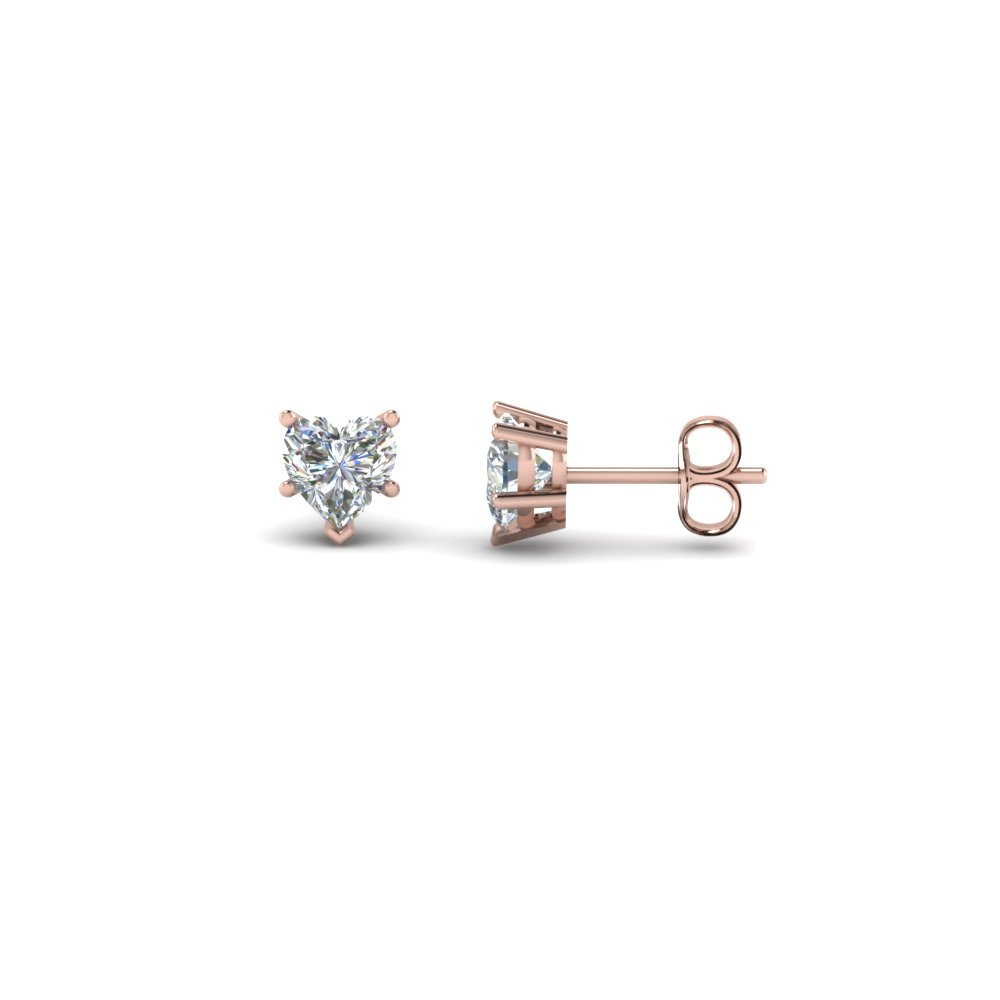 bc97c1f27 5 Prong Heart Diamond Stud Earrings In 14K Rose Gold | Fascinating ...