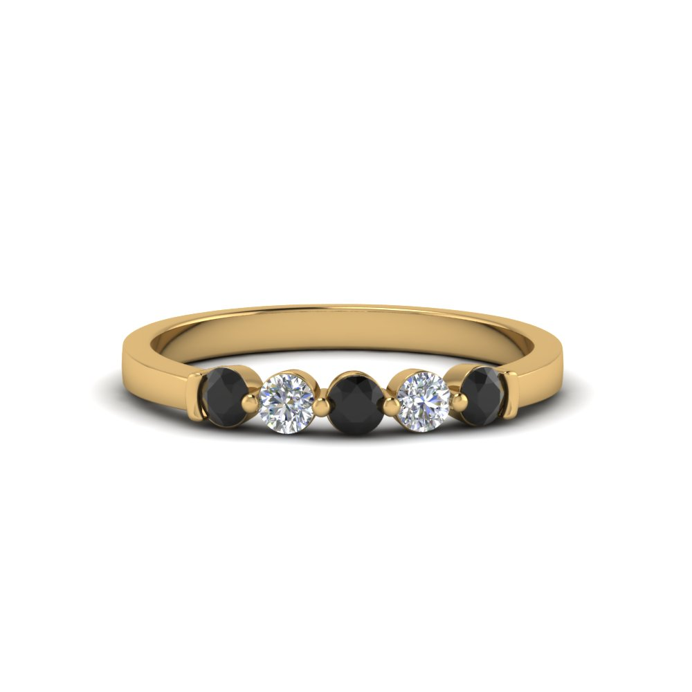 5 stone anniversary band with black diamond in 18K yellow gold FDWB2231BGBLACK NL YG