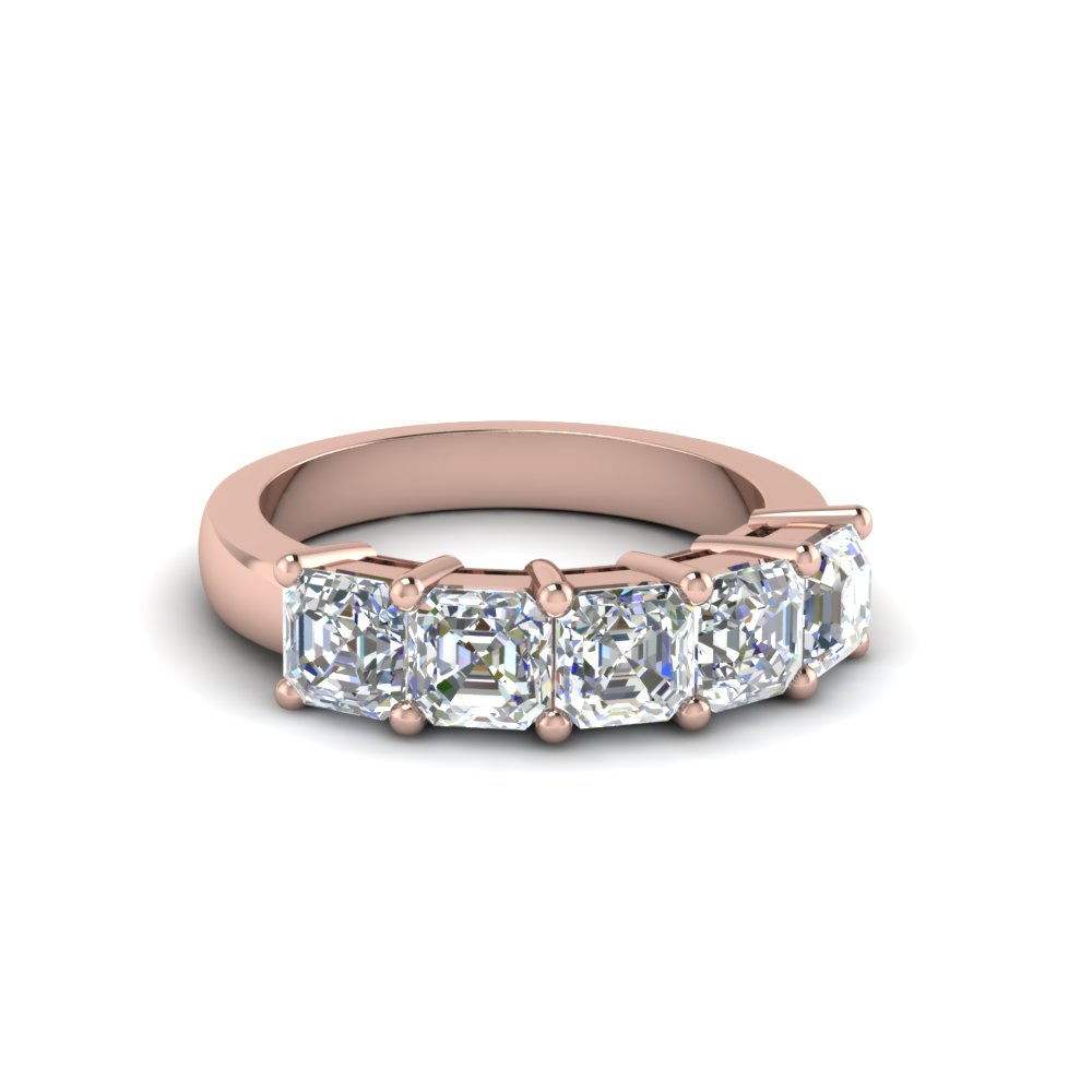 14K Rose Gold 5 Stone Asscher Cut Band