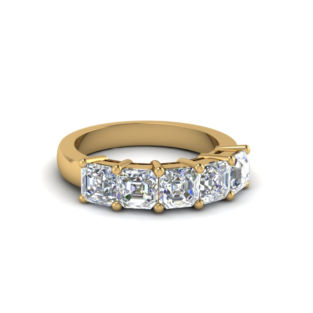 5 Stone Asscher Diamond Band 1 Ct.