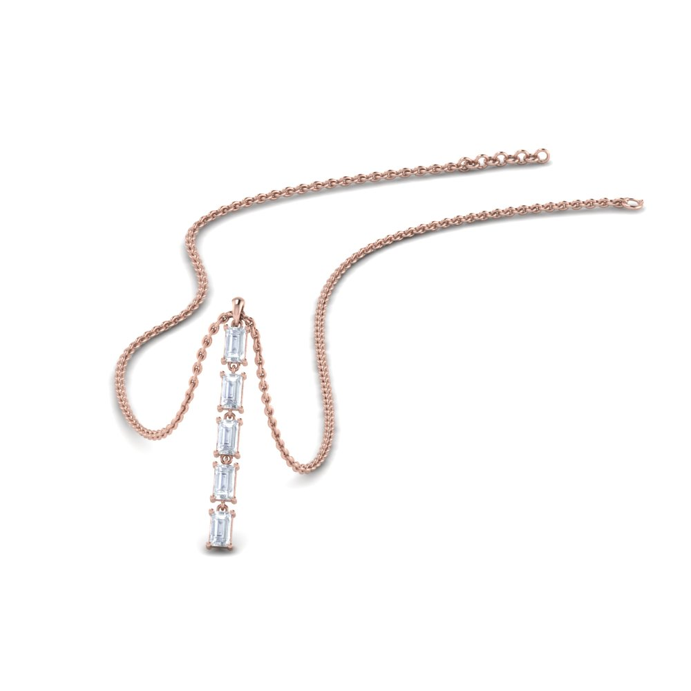 5 stone baguette drop pendant in 14K rose gold FDPD8428 NL RG