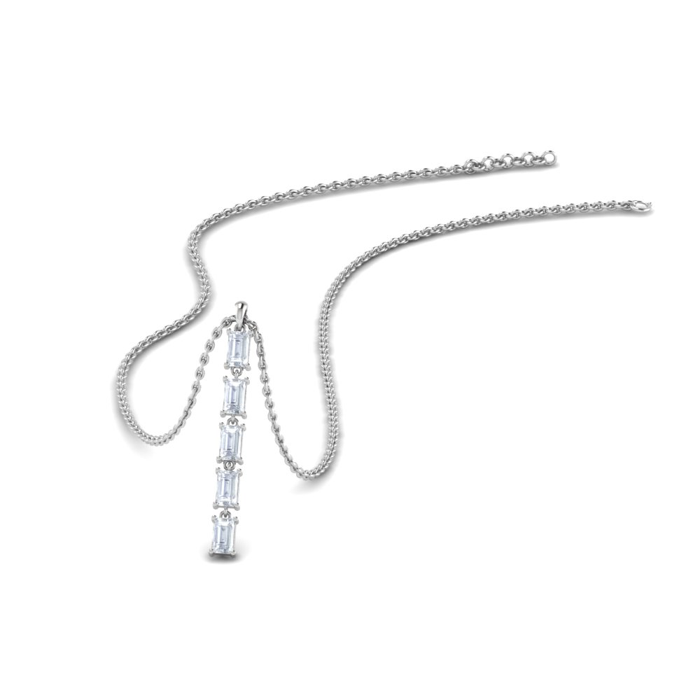 5 Stone Baguette Diamond Drop Pendant