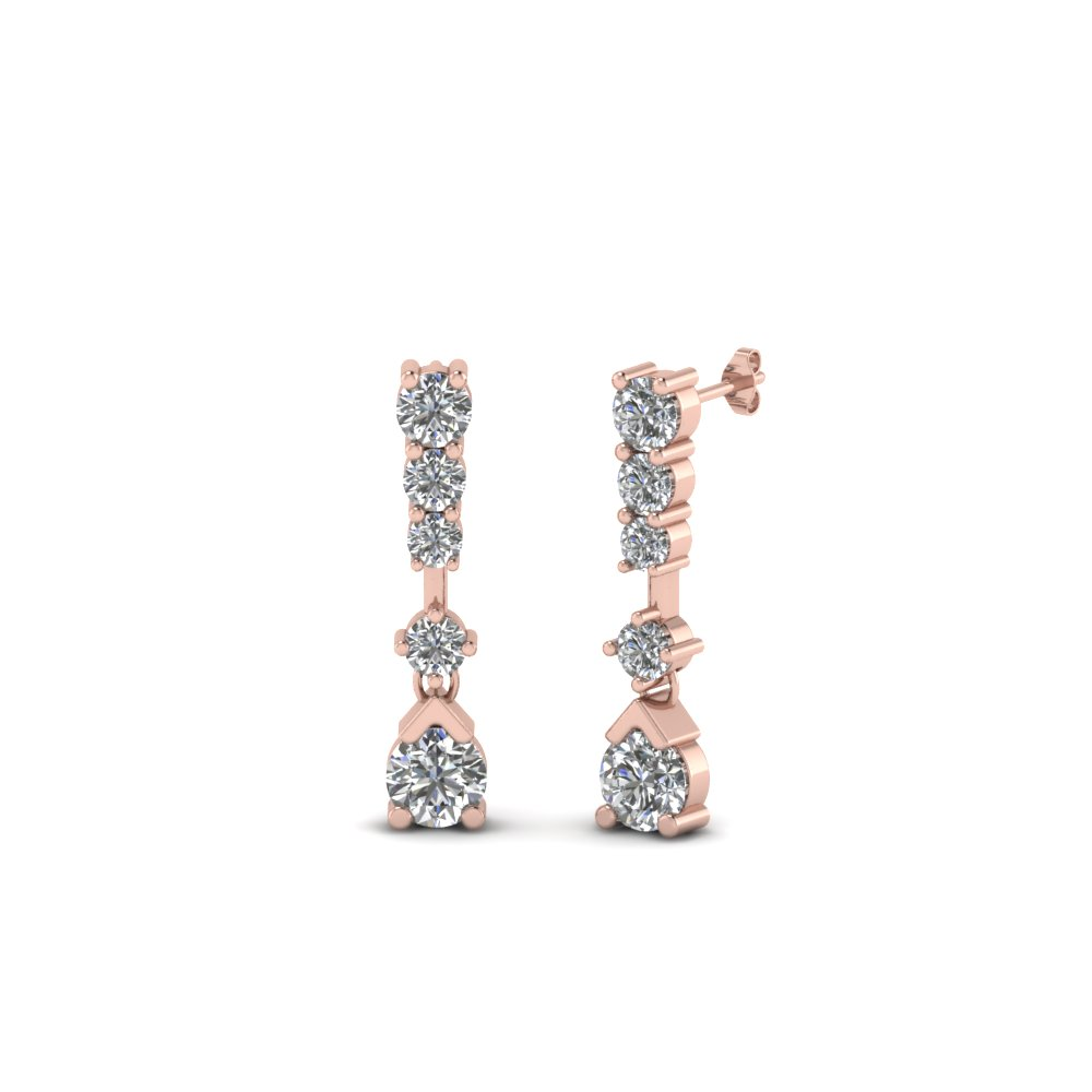 5 stone drop round diamond earring in 14K rose gold FDEAR8108 NL RG