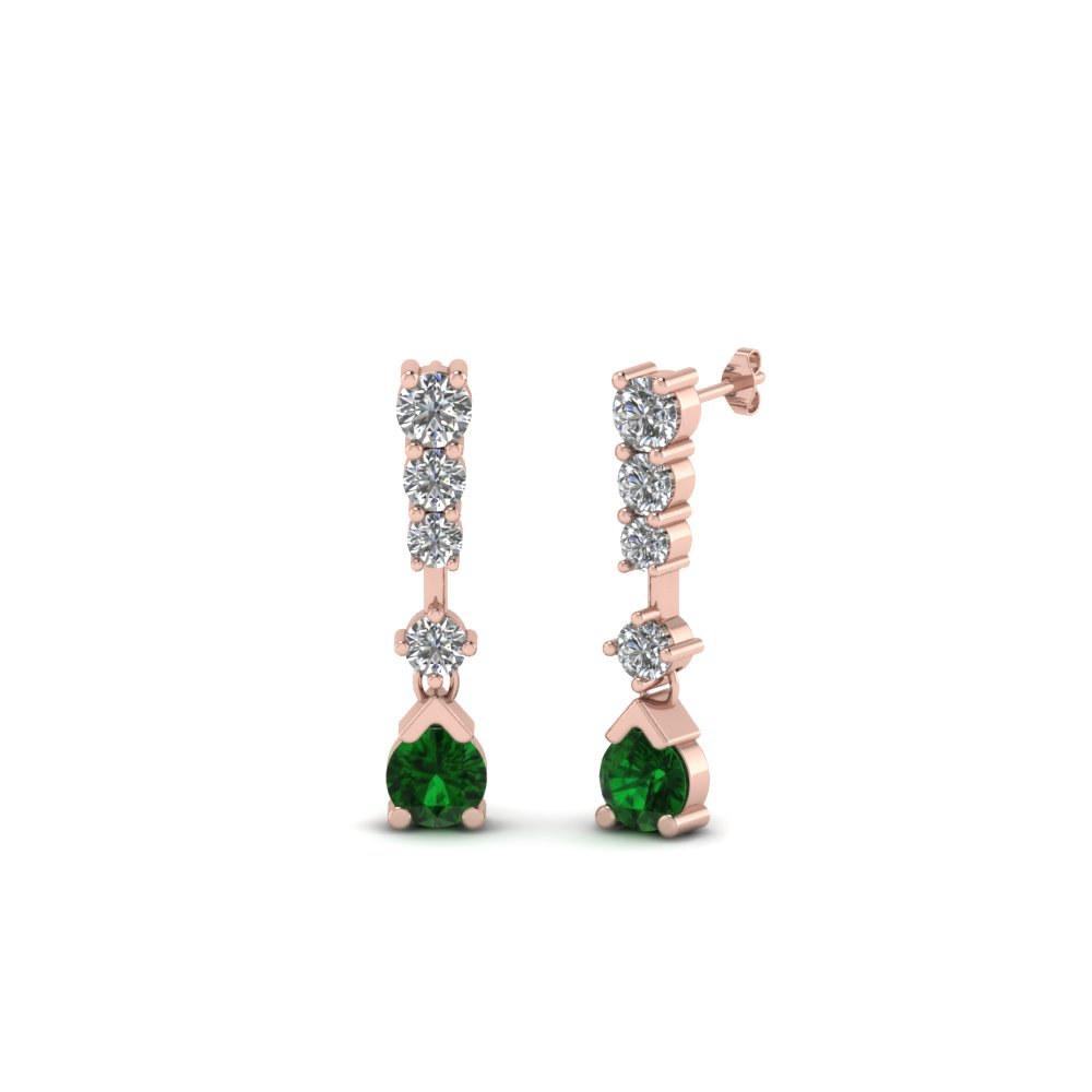 5 Stone Drop Diamond Earring
