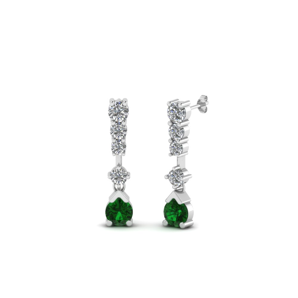 5 stone drop diamond earring with emerald in 18K white gold FDEAR8108GEMGR NL WG