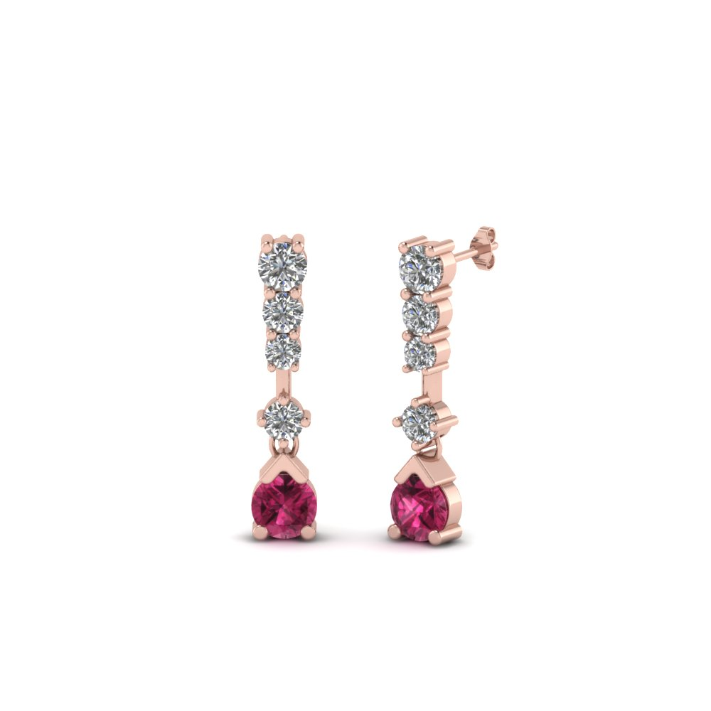 5 stone drop round diamond earring with pink sapphire in 14K rose gold FDEAR8108GSADRPI NL RG