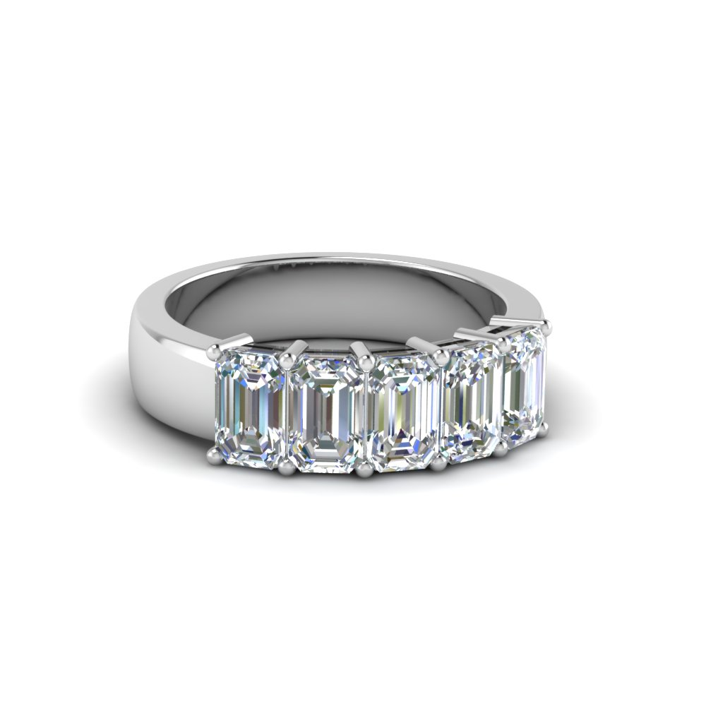 5 Stone Emerald Cut Diamond Band