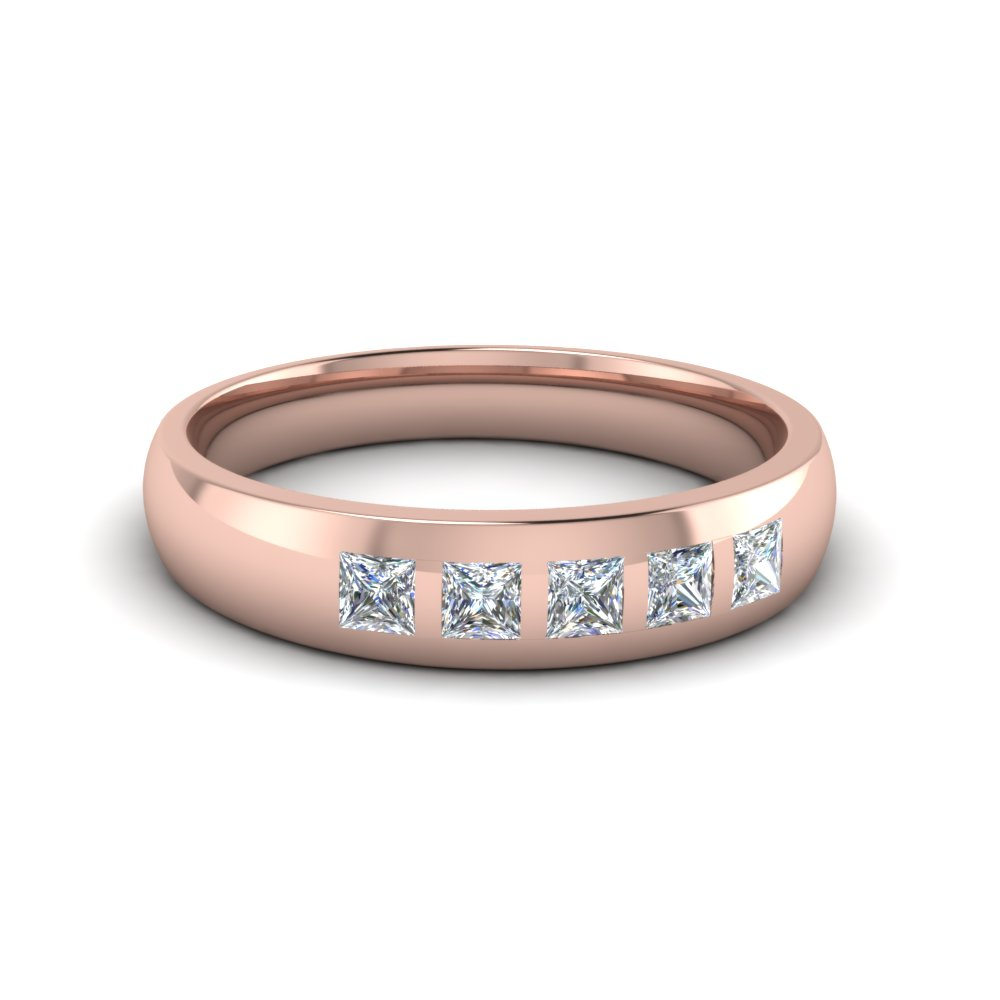 5 Stone Flush Set Diamond Wedding Band For Men In 14K Rose Gold