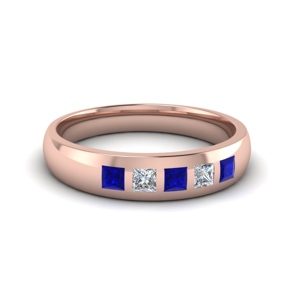 5 Stone Flush Set Diamond Wedding Band For Men With Blue Sapphire In