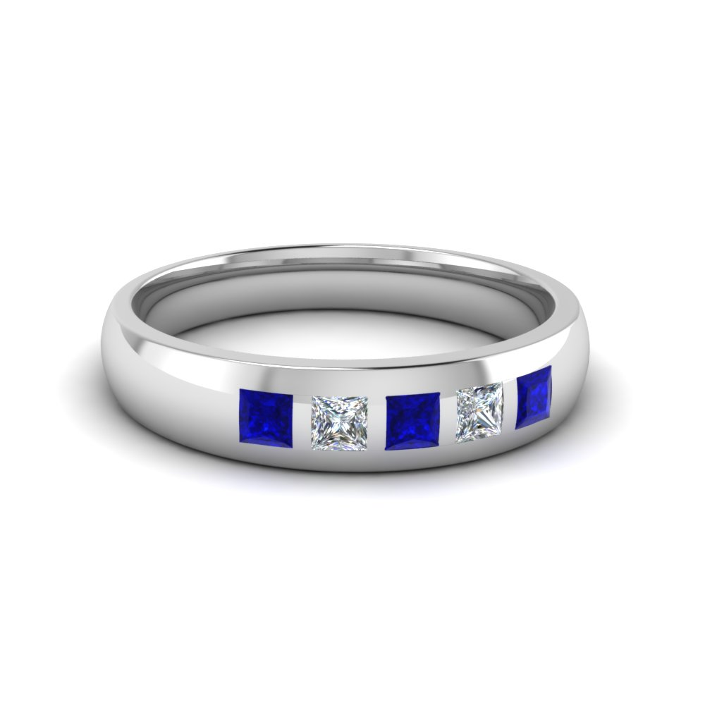 5 stone flush set diamond wedding band for men with blue sapphire in 14K white gold FD120146BGSABL NL WG
