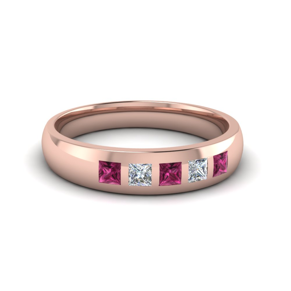 5 Stone Flush Set Diamond Wedding Band For Men With Pink Sapphire In