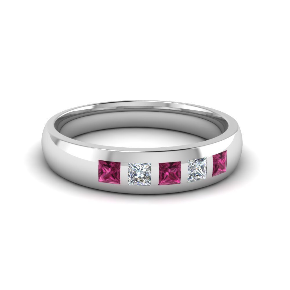 5 stone flush set diamond wedding band for men with pink sapphire in 14K white gold FD120146BGSADRPI NL WG