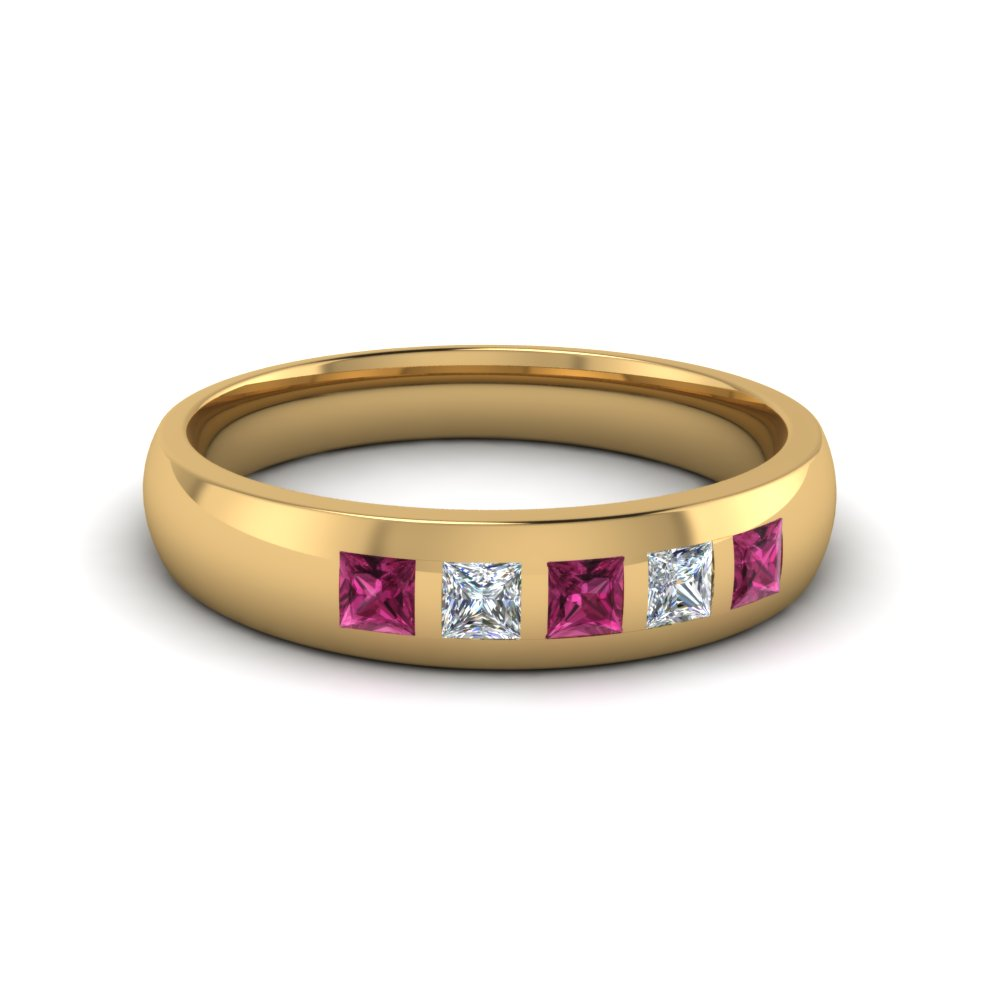 5 stone flush set diamond wedding band for men with pink sapphire in 14K yellow gold FD120146BGSADRPI NL YG