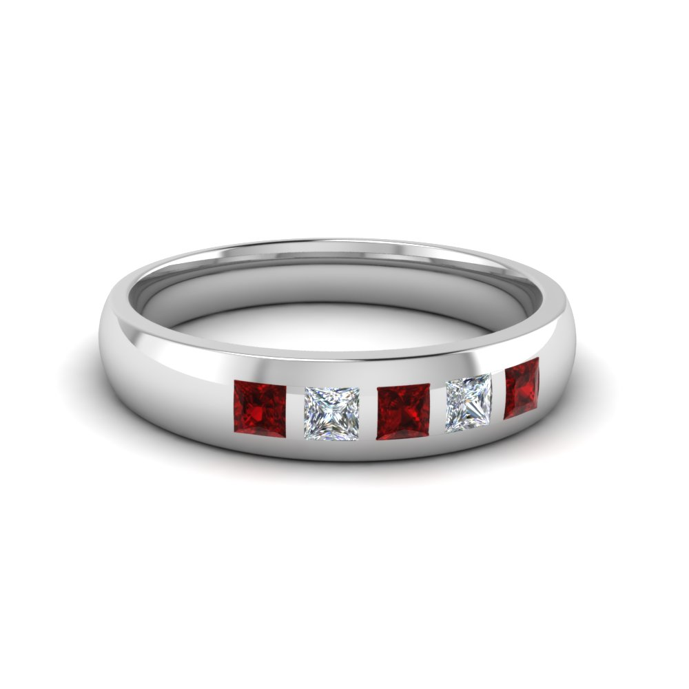 5 stone flush set diamond wedding band for men with ruby in 14K white gold FD120146BGRUDR NL WG