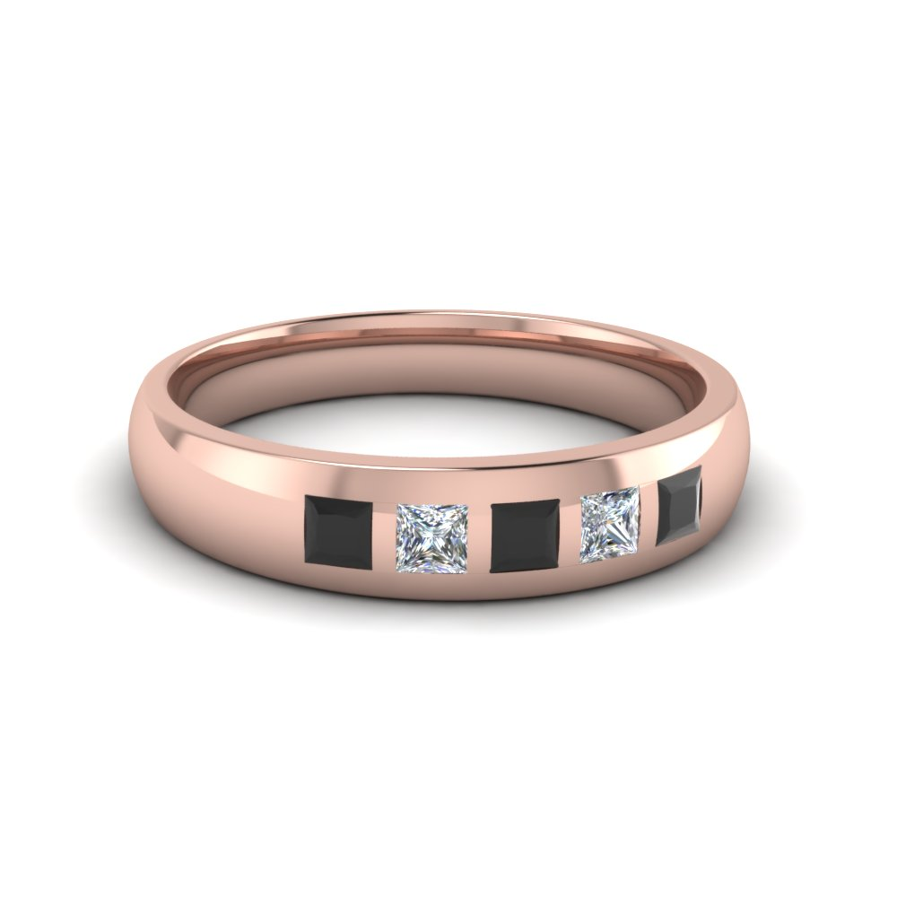 5 stone flush set wedding band for men with black diamond in 14K rose gold FD120146BGBLACK NL RG