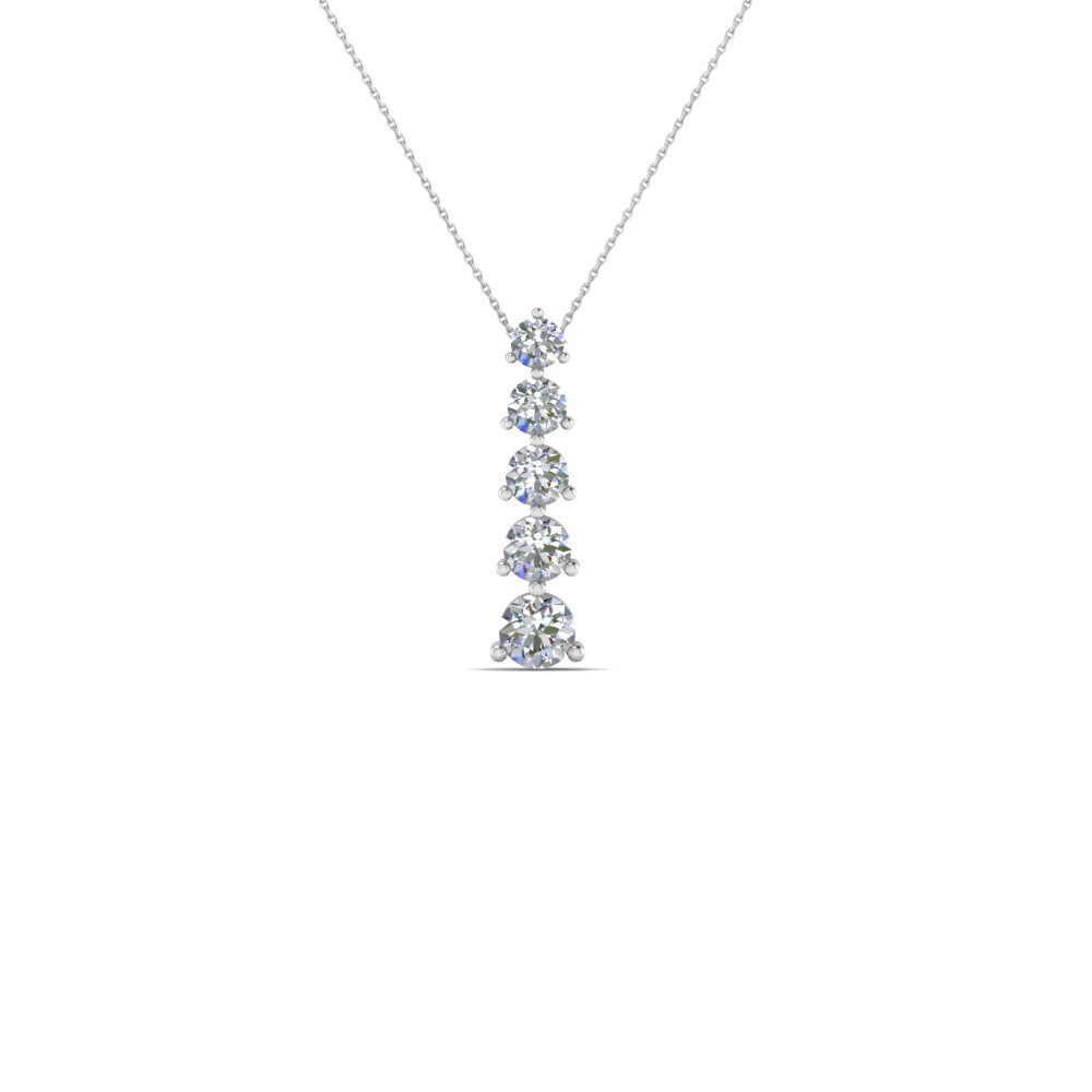 5 stone graduated drop pendant anniversary necklace gifts in 14K white gold FDPD1580 NL WG
