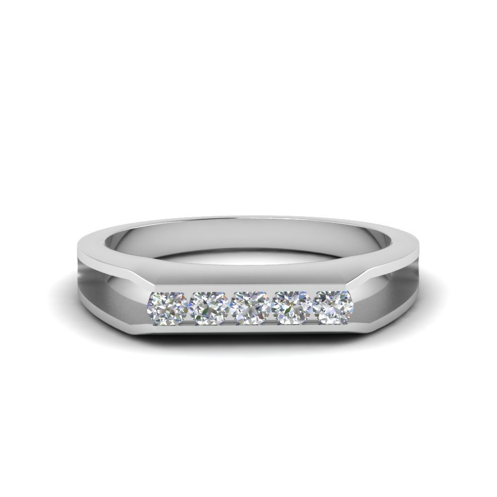 Bezel Split Diamond Wedding Band