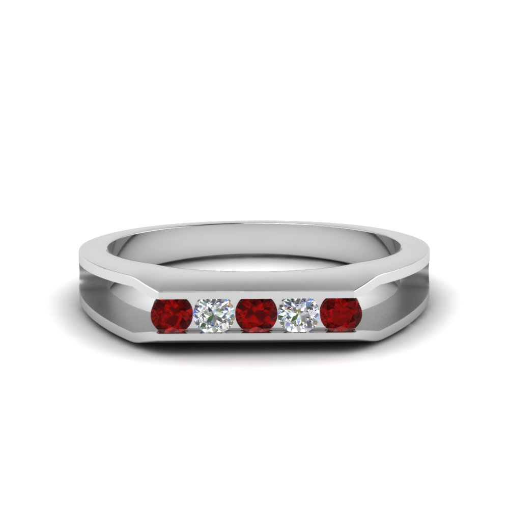 5 stone split diamond wedding band with ruby in 14K white gold FDMR1274GRUDR NL WG