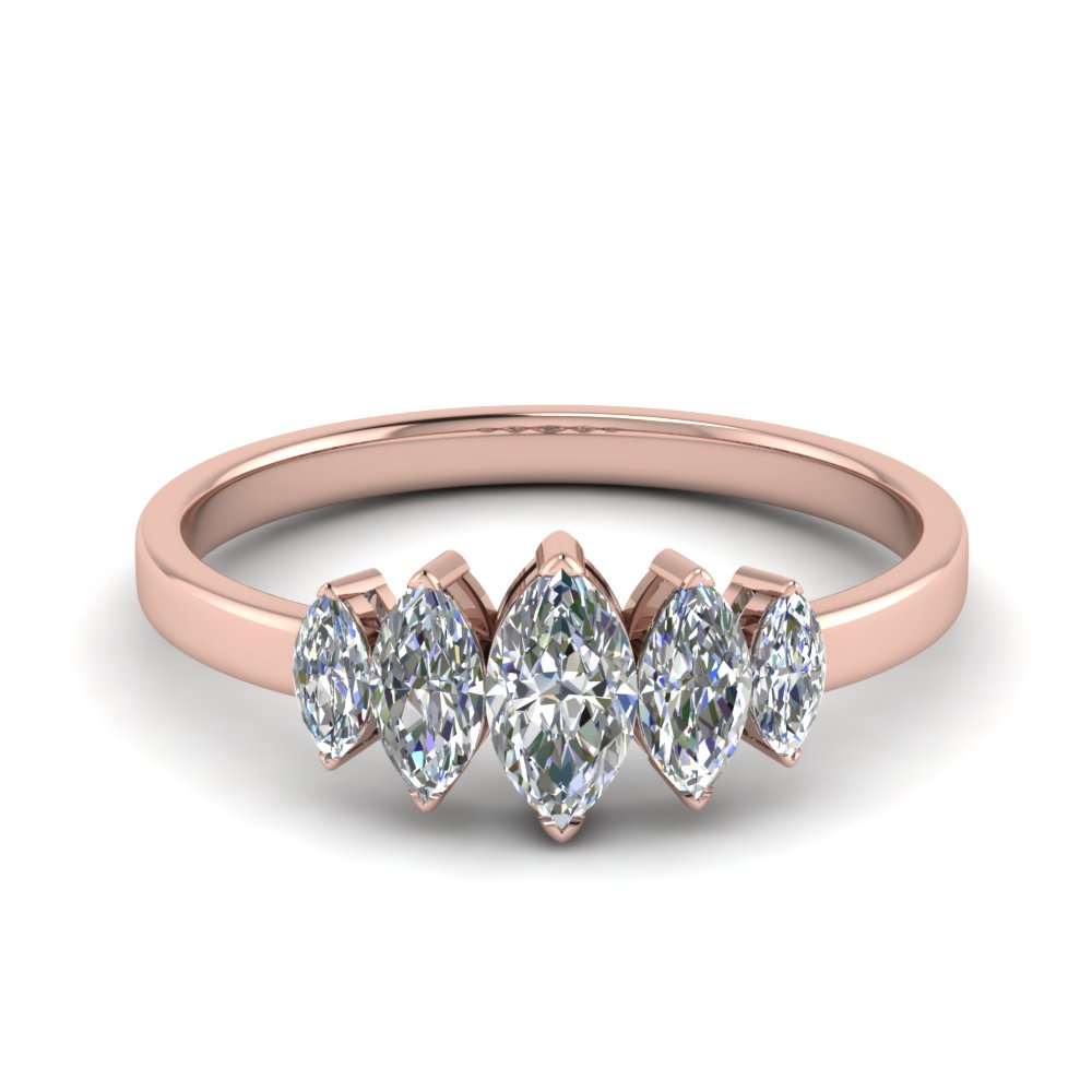 14K Rose Gold 5 Stone Ring