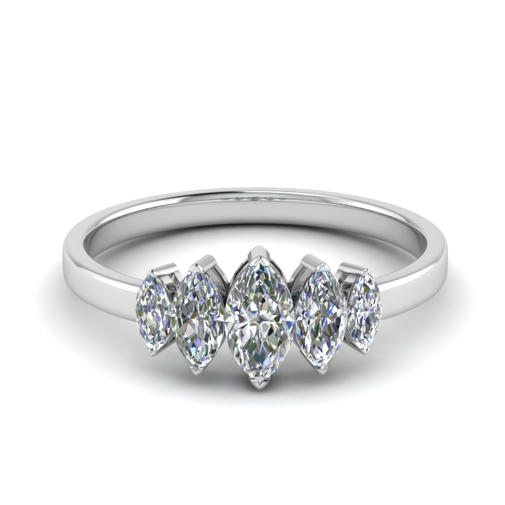 5 Stone Marquise Cut Ring