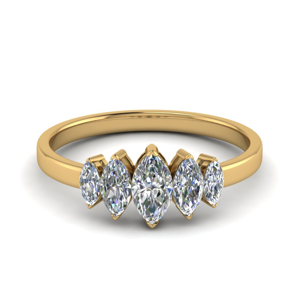 18K Yellow Gold Marquise Cut Ring