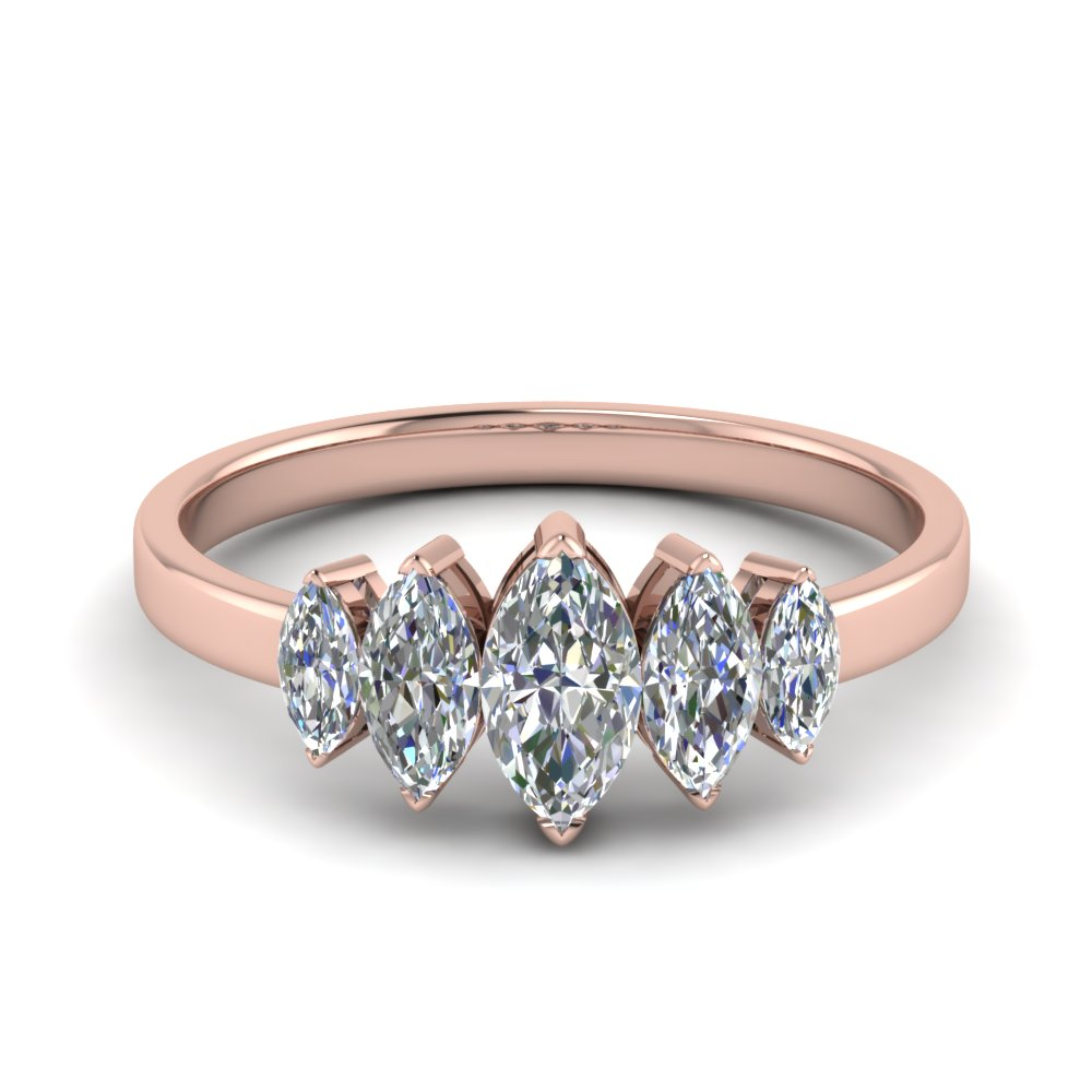 14K Rose Gold 5 Stone Marquise Band