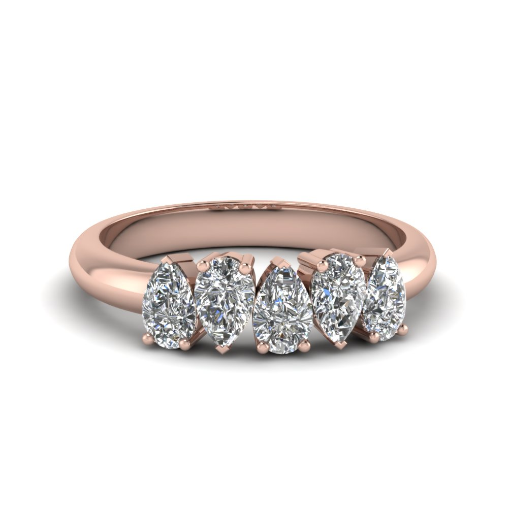 5 Stone Pear Shaped Diamond Band In 14k Rose Gold Fascinating Diamonds