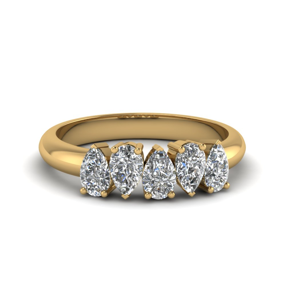5 stone pear shaped diamond band in 14K yellow gold FD8294PEB NL YG