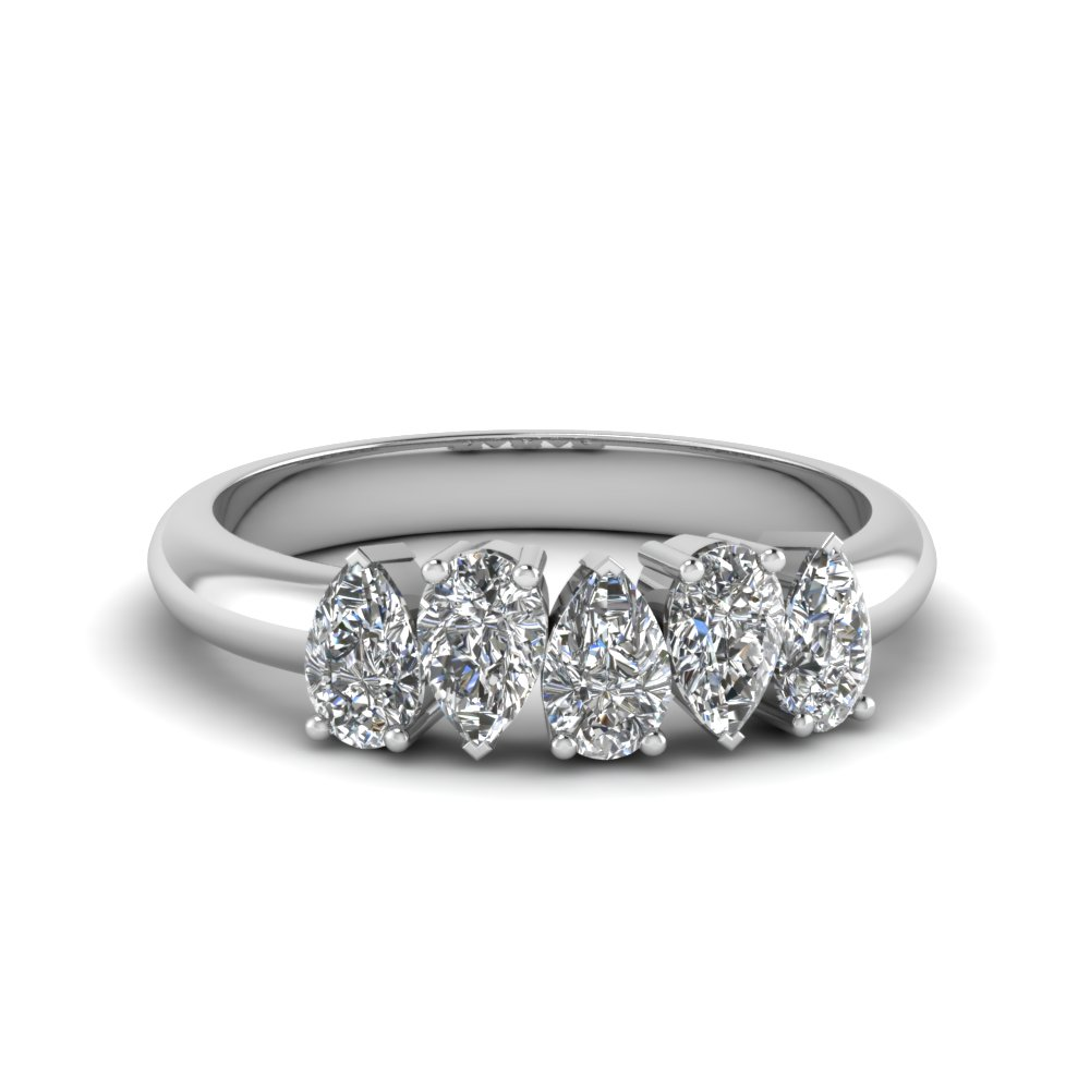 5 Stone Pear Diamond Band