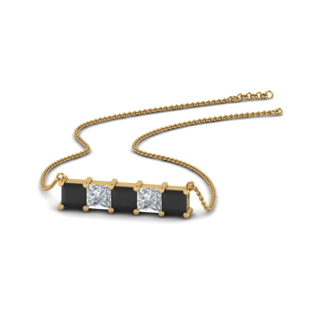 5 stone princess cut bar pendant with black diamond in FDPD8413GBLACK NL YG