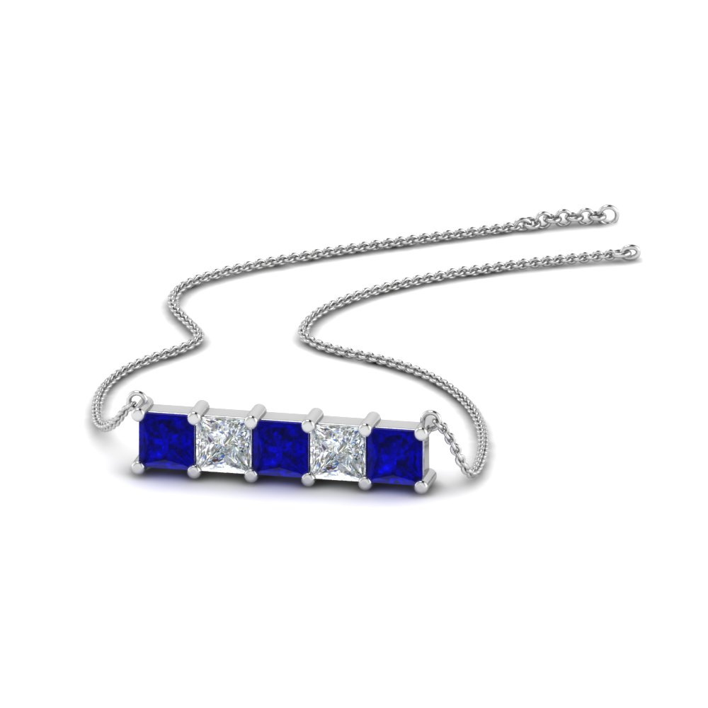 5 Stone Princess Diamond Bar Pendant