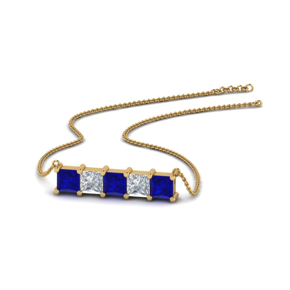 5 stone princess cut diamond bar pendant with blue sapphire in FDPD8413GSABL NL YG