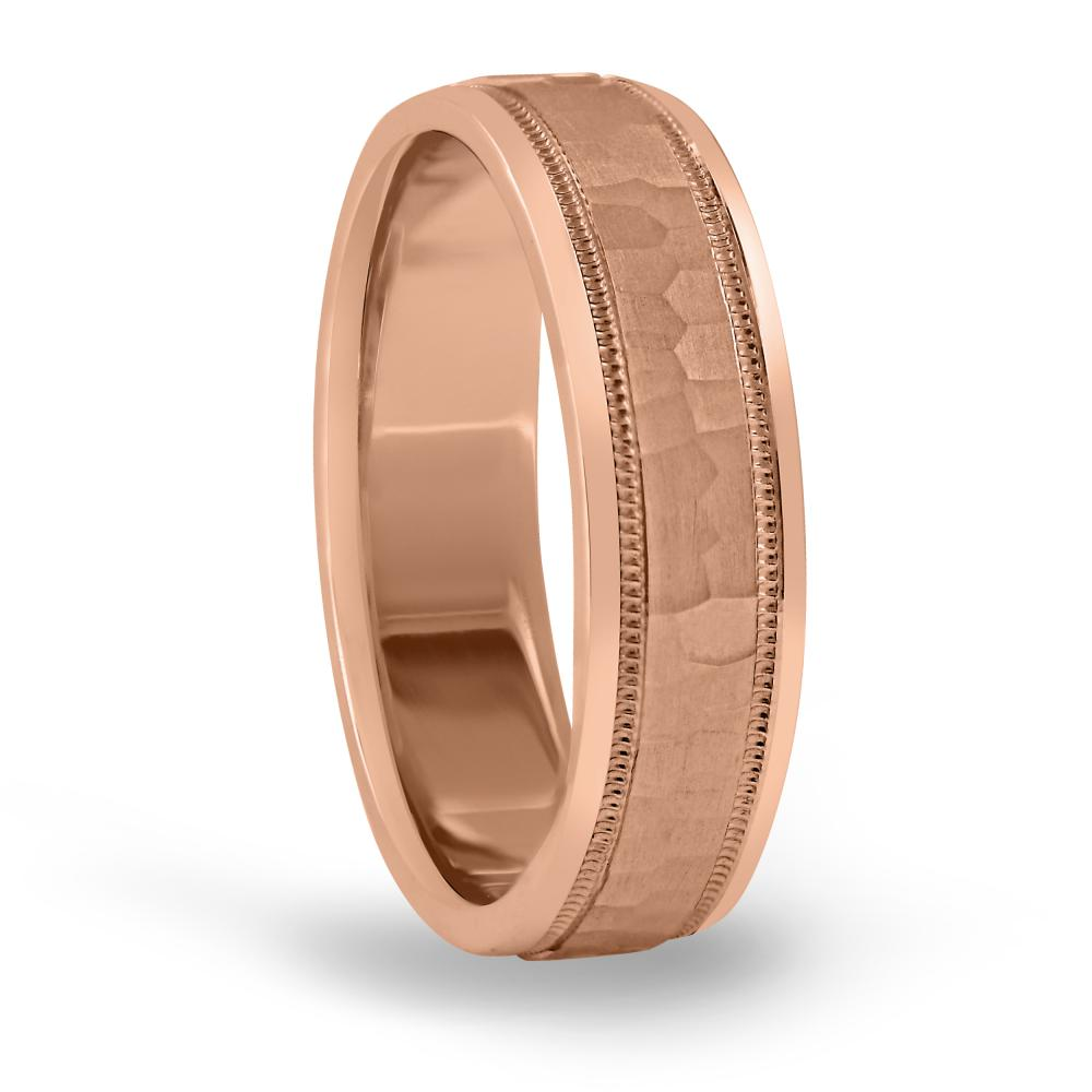 5MM light weight classic hammered mens wedding ring in 14K rose gold FDN18045H NL RG