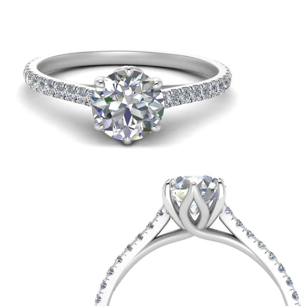 6 claw prong flower basket moissanite engagement ring in white gold FD9109RORANGLE3 NL WG