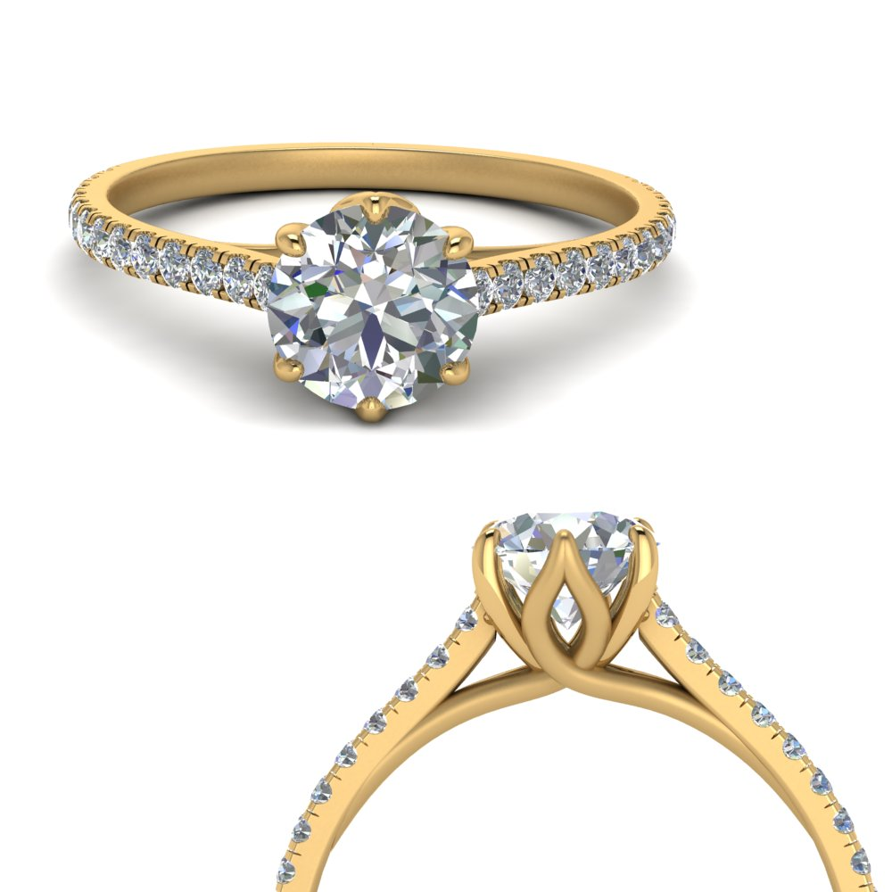6 claw prong flower basket diamond engagement ring in yellow gold FD9109RORANGLE3 NL YG