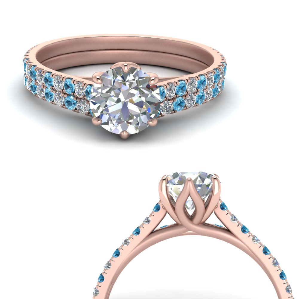 6 claw prong flower basket diamond wedding set with blue topaz in FD9109B1ROGICBLTOANGLE3 NL RG.jpg