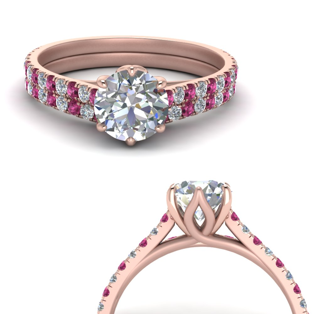 6 claw prong flower basket moissanite wedding set with pink sapphire in FD9109B1ROGSADRPIANGLE3 NL RG.jpg