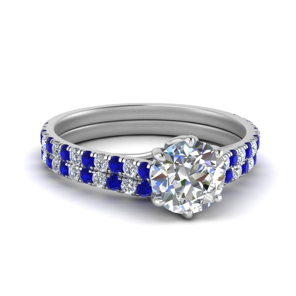 White Gold Round Cut Wedding Sets With Sapphire