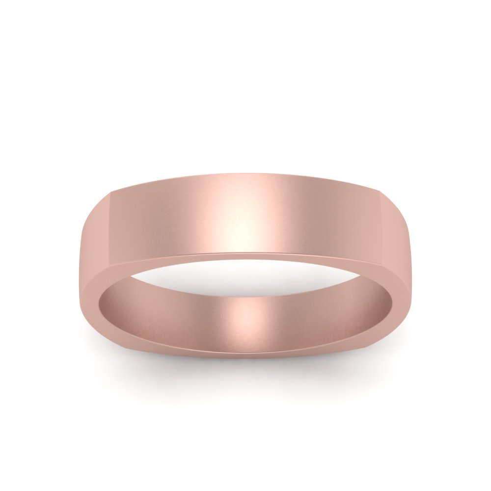 6 Mm Square Matte Finish Mens Ring In 14K Rose Gold | Fascinating ...